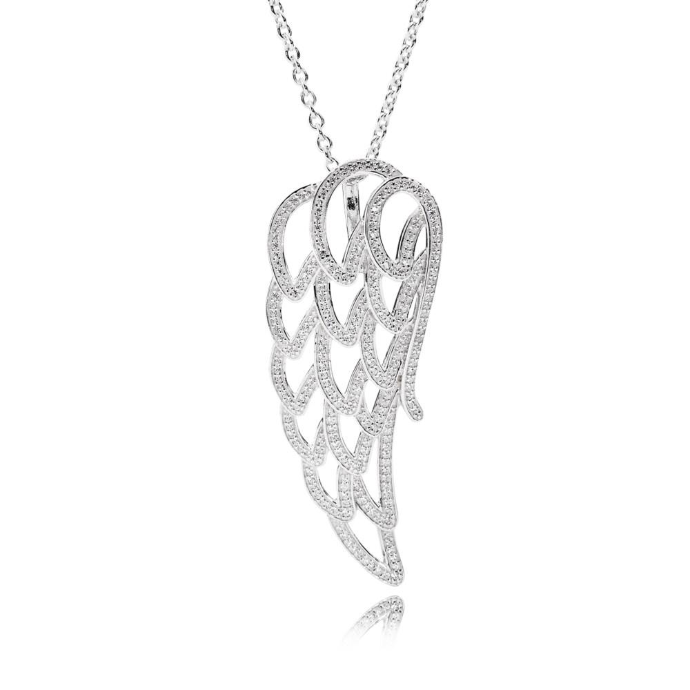 潘多拉 pandora 天使之翼 390374cz90 项链与坠饰 390374cz-90   这款手工925银天使之翼吊坠项链的吊坠表面镶有通透亮丽的立方氧化锆石.